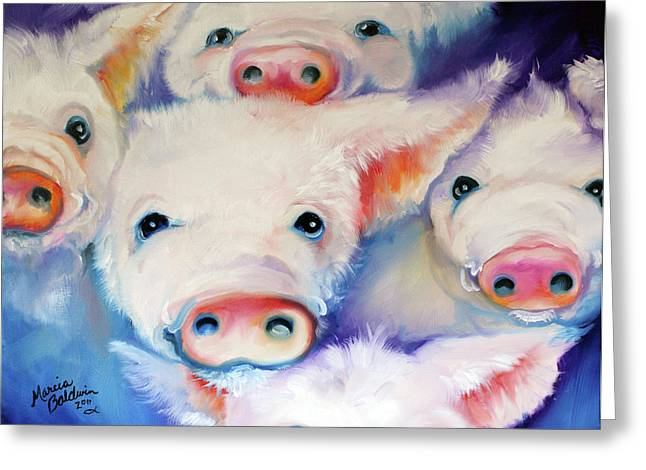 Best Sellers -  - Piglets Greeting Cards - Five Little Squeals Greeting Card by Marcia Baldwin