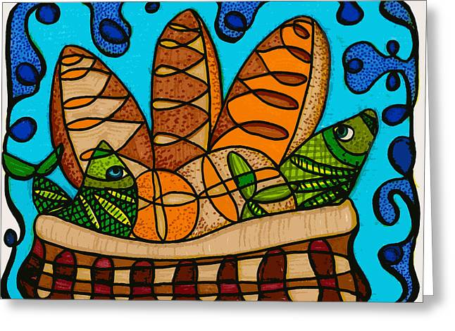 Abba Father Greeting Cards - Five Loaves Two Fish Original Greeting Card by Suzanne  Frie