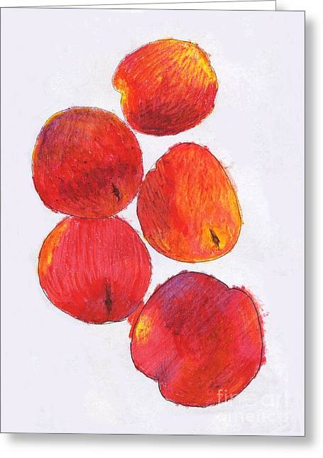 Apricots Pastels Greeting Cards - Five Nectarines  Greeting Card by Andy  Mercer