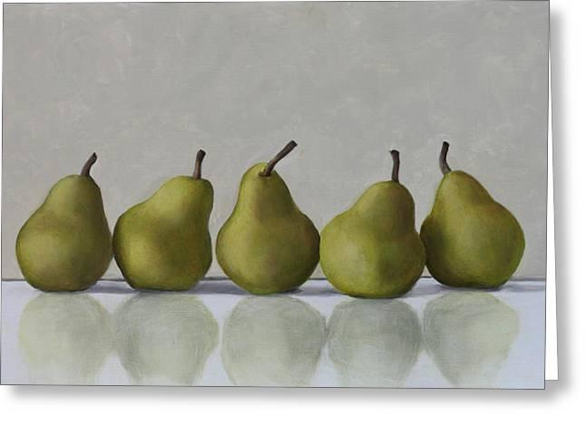 Pears Paintings Greeting Cards - Five Pears Greeting Card by Linda Tenukas