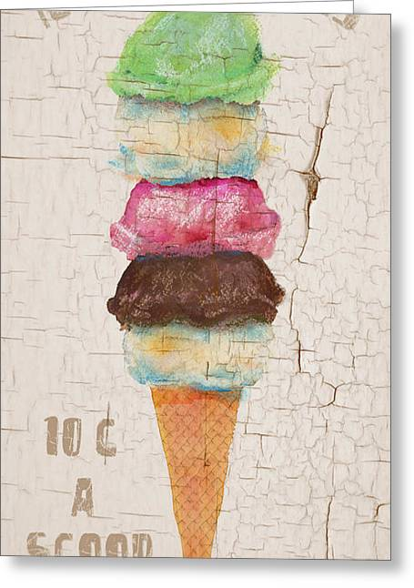 Five Scoops Greeting Card by Arline Wagner