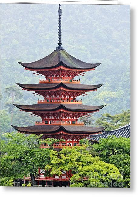Miyajima Greeting Cards - Five-storied Pagoda Greeting Card by Jeremy Woodhouse