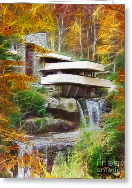 Fixer Upper - Frank Lloyd Wright's Fallingwater Greeting Card by John Robert Beck