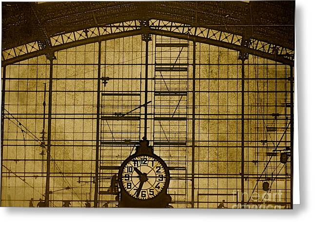 Repaired Mixed Media Greeting Cards - Fixing the Clock Greeting Card by Louise Fahy