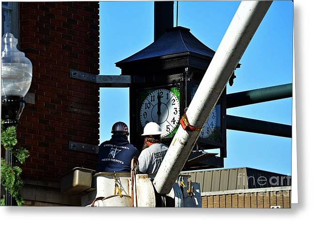 Fixing The Clock  Greeting Card by JW Hanley