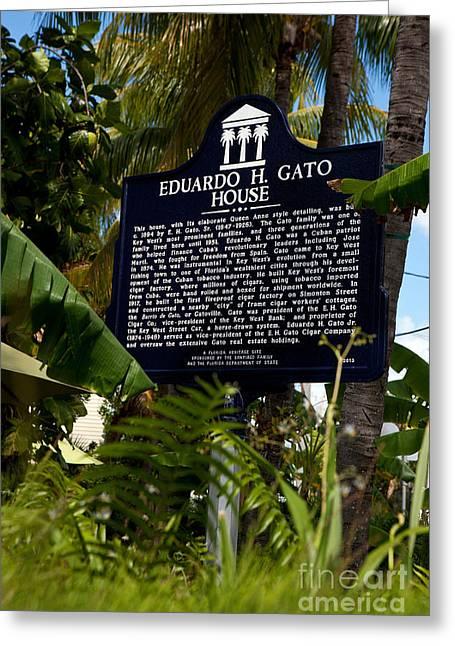 Historical Images Greeting Cards - FL-F765 Eduardo H. Gato House Greeting Card by Jason O Watson