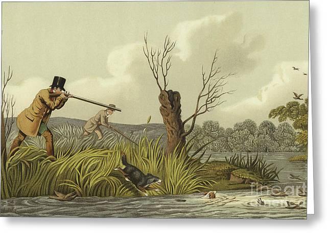 Flacker Shooting Greeting Card by Henry Thomas Alken