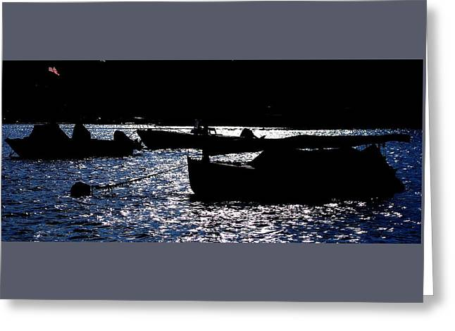 Boats In Harbor Greeting Cards - Flag and Boats Late Afternoon Greeting Card by Bill Driscoll