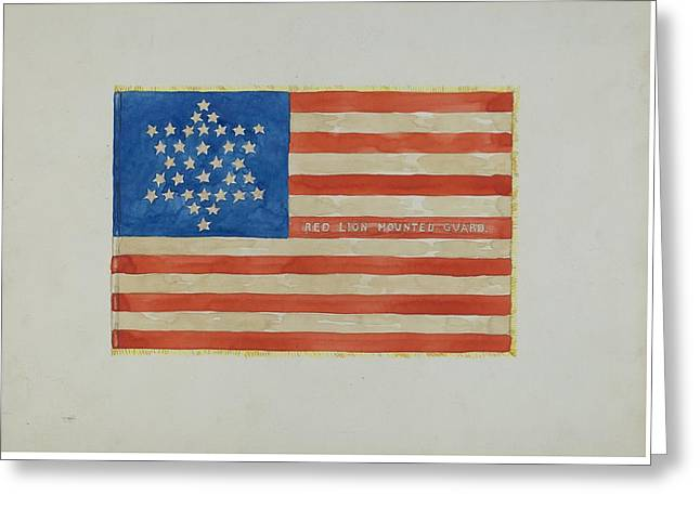 Fries Drawings Greeting Cards - Flag - Civil War Greeting Card by Edward Grant