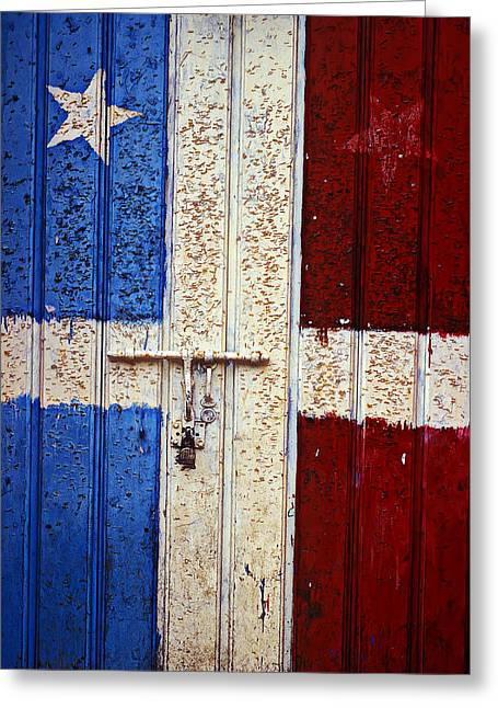 San Juan Puerto Rico Greeting Cards - Flag Door Greeting Card by Garry Gay