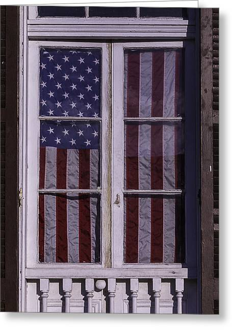 Victorian Greeting Cards - Flag In New Orleans Window Greeting Card by Garry Gay