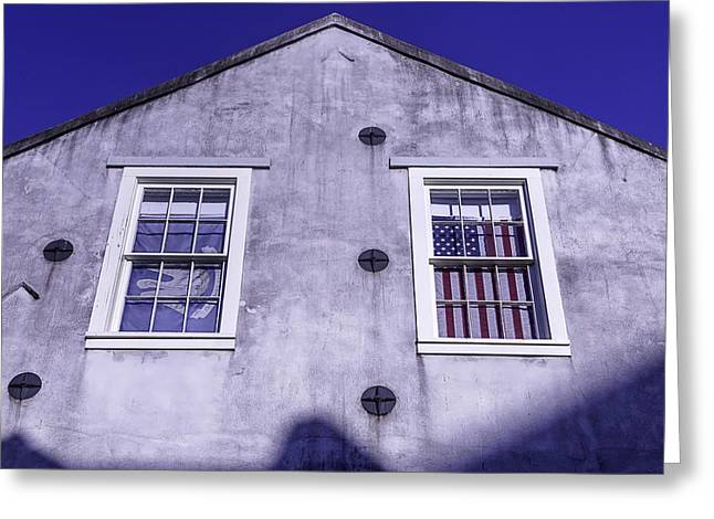 Nola Photographs Greeting Cards - Flag In Window Greeting Card by Garry Gay