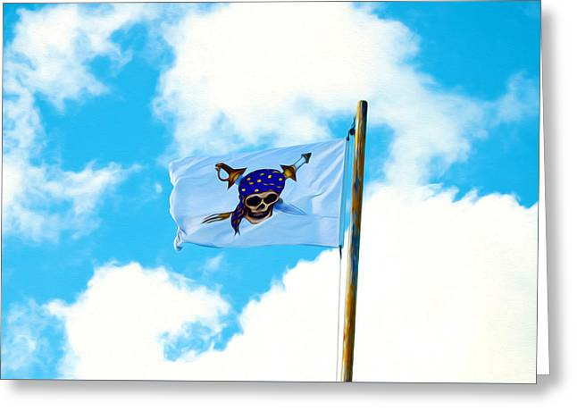 Pittsburgh Pirates Paintings Greeting Cards - Flag of a Pirate Greeting Card by Lanjee Chee