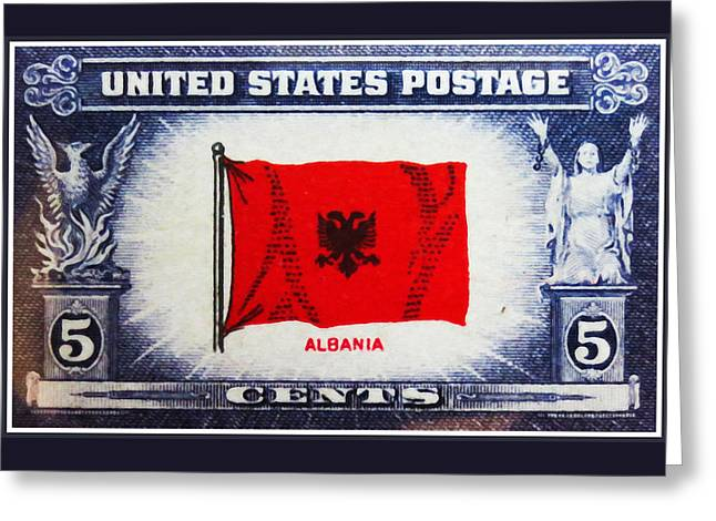 Oppress Greeting Cards - Flag of Albania Greeting Card by Lanjee Chee