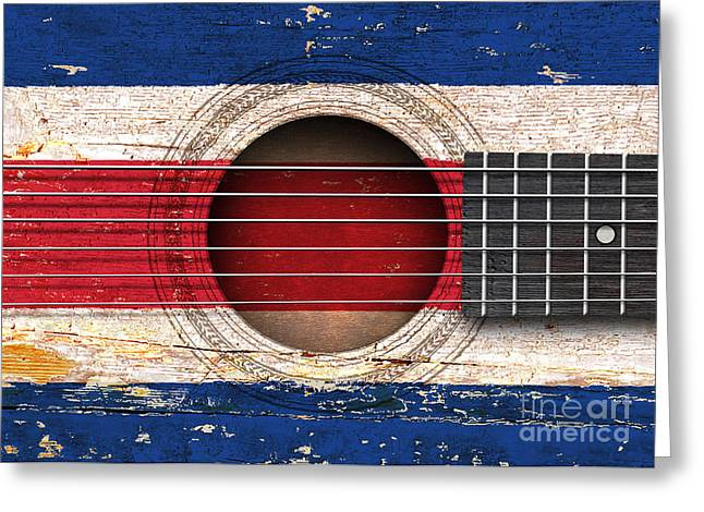Costa Digital Greeting Cards - Flag of Costa Rica on an Old Vintage Acoustic Guitar Greeting Card by Jeff Bartels