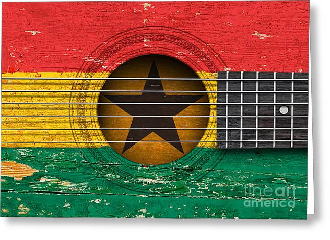 Flag Of Ghana On An Old Vintage Acoustic Guitar Greeting Card by Jeff Bartels