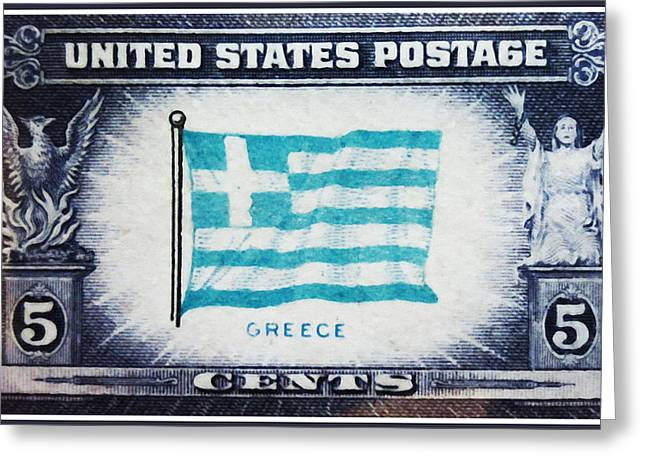 Overruns Greeting Cards - Flag of Greece Greeting Card by Lanjee Chee
