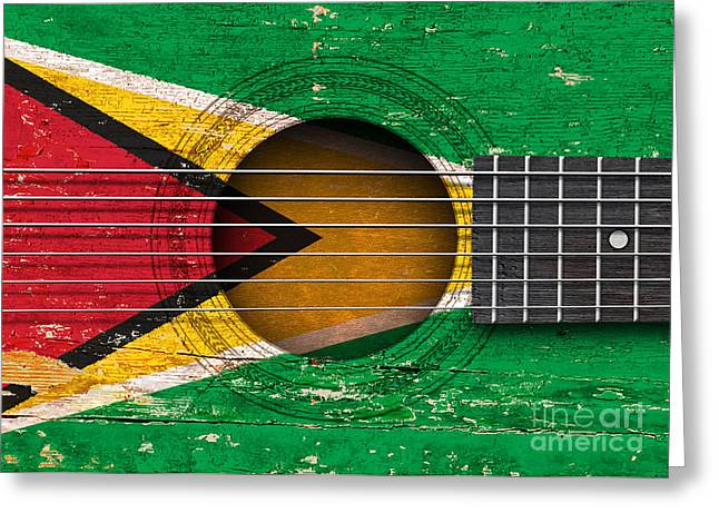 Guyana Greeting Cards - Flag of Guyana on an Old Vintage Acoustic Guitar Greeting Card by Jeff Bartels