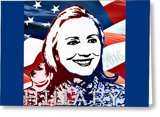 William Clinton Greeting Cards - Flag of Hillary Greeting Card by Jost Houk