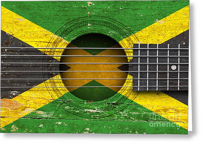 Jamaican Music Greeting Cards - Flag of Jamaica on an Old Vintage Acoustic Guitar Greeting Card by Jeff Bartels