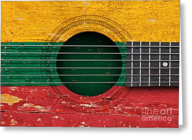 Lithuania Greeting Cards - Flag of Lithuania on an Old Vintage Acoustic Guitar Greeting Card by Jeff Bartels