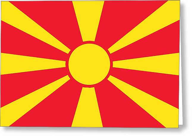 Patriotism Paintings Greeting Cards - Flag of Macedonia Greeting Card by Unknown