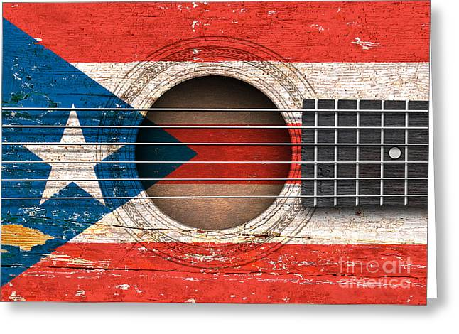 Puerto Rican Greeting Cards - Flag of Puerto Rico on an Old Vintage Acoustic Guitar Greeting Card by Jeff Bartels