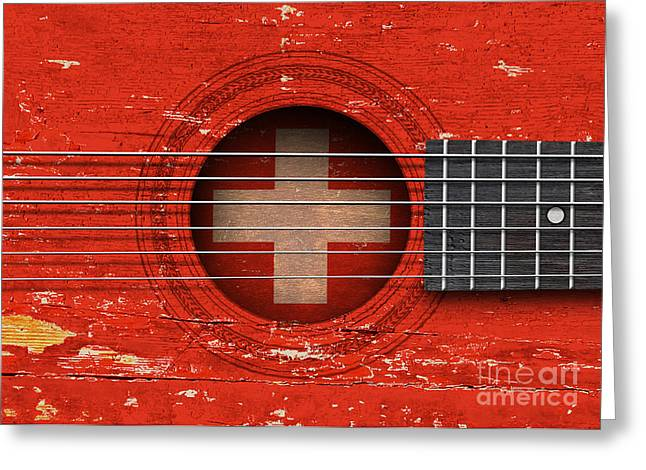 Swiss Flag Greeting Cards - Flag of Switzerland on an Old Vintage Acoustic Guitar Greeting Card by Jeff Bartels