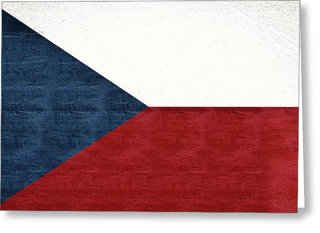 Flag Of The Czech Republic Grunge Greeting Card by Roy Pedersen