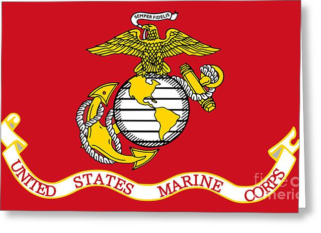 U.s. Flag Greeting Cards - Flag of the United States Marine Corps Greeting Card by Pg Reproductions
