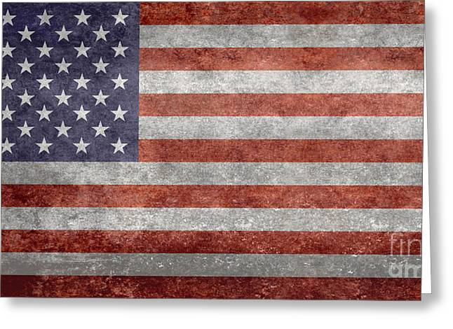 Flag Of The United States Of America  Vintage Retro Version Greeting Card by Bruce Stanfield