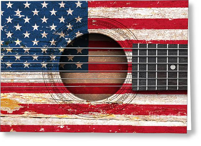 Flag Of The United States Greeting Cards - Flag of the United States on an Old Vintage Acoustic Guitar Greeting Card by Jeff Bartels