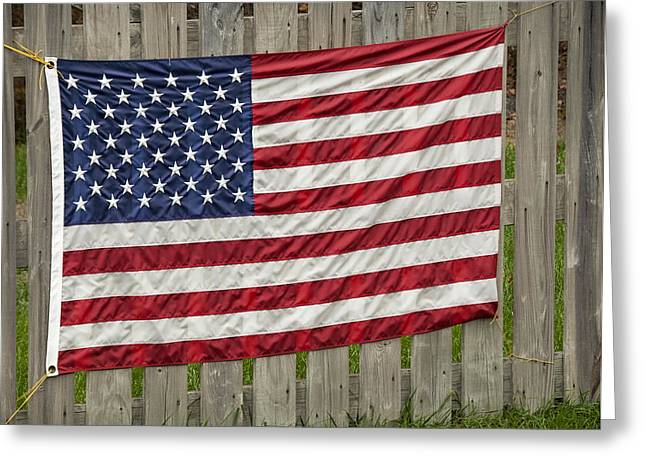Flag Of Usa Greeting Cards - Flag on a Fence Greeting Card by Phil Cardamone