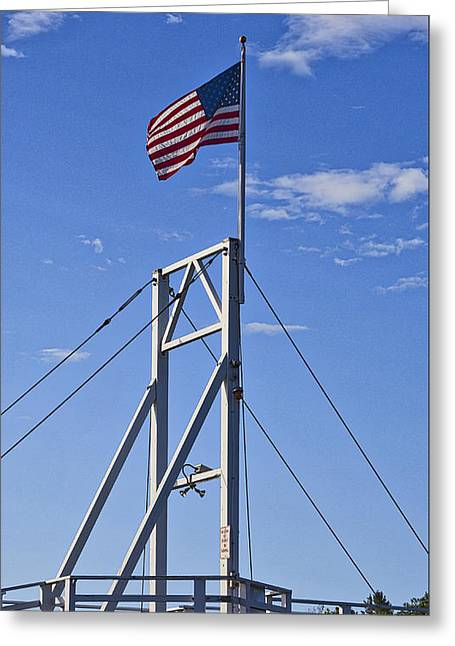 New England Village Greeting Cards - Flag on Perkins Cove Bridge - Maine Greeting Card by Steven Ralser