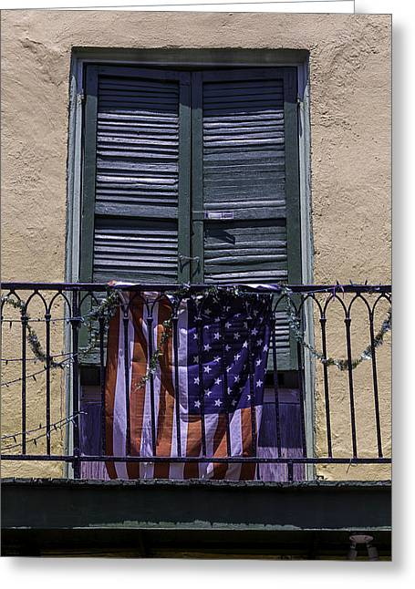 Nola Photographs Greeting Cards - Flag On Wrought Iron Rail Greeting Card by Garry Gay