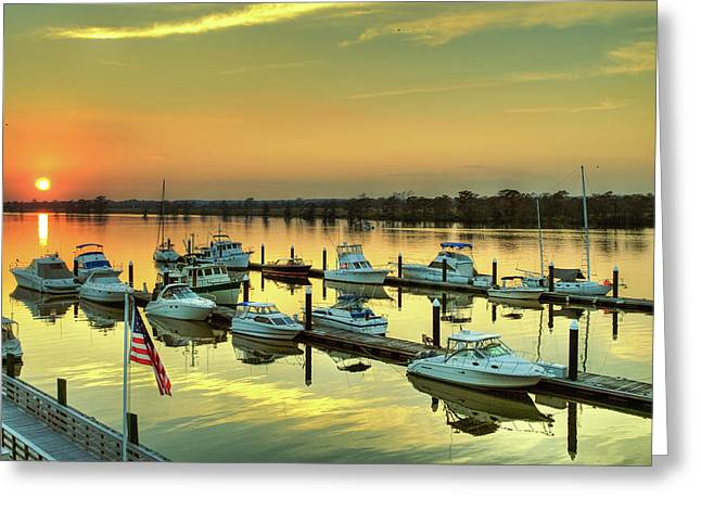 Mike Covington Greeting Cards - Flag over Heritage Greeting Card by Mike Covington