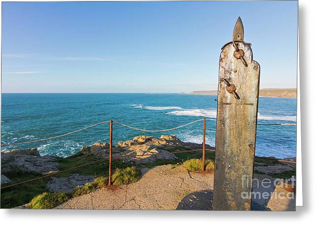 Flag Pole Holder Sennen Cove Greeting Card by Terri Waters