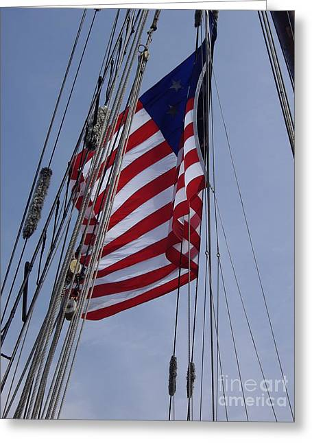 Shades Of Red Greeting Cards - Flag Tall Ship Greeting Card by Carol Komassa