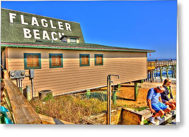 Flagler Greeting Cards - Flagler Pier Postcard Greeting Card by Andrew Armstrong  -  Mad Lab Images