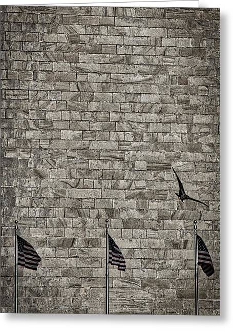 Flag Of Usa Greeting Cards - Flags by the Monument Greeting Card by Stuart Litoff