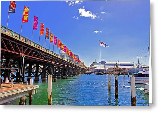 Darling Harbour Greeting Cards - Flags During Navy Fleet Review In Darling Harbour Greeting Card by Miroslava Jurcik