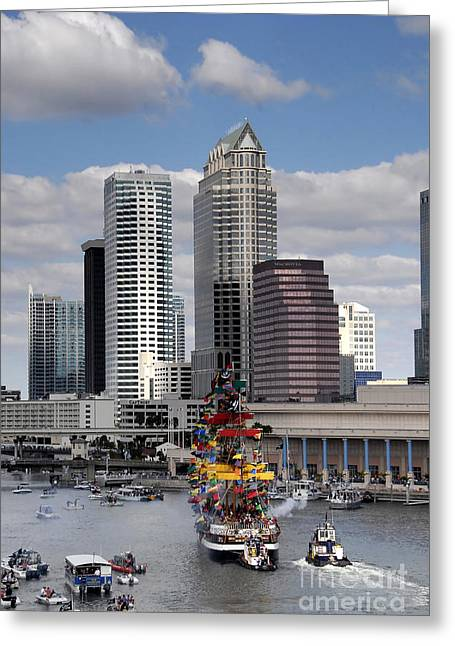 Flags Of Gasparilla Greeting Card by David Lee Thompson