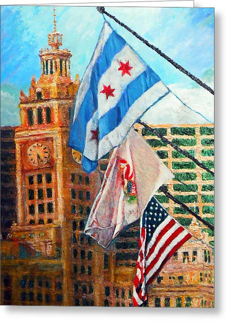 Flags Over Wrigley Greeting Card by Michael Durst