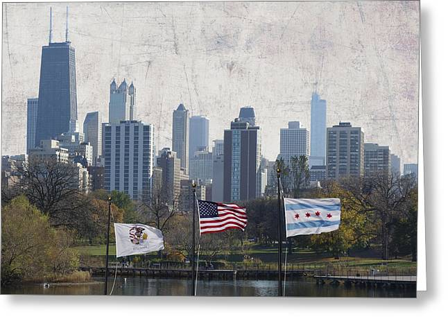 Flags Up In Chicago Greeting Card by Daniel Hagerman
