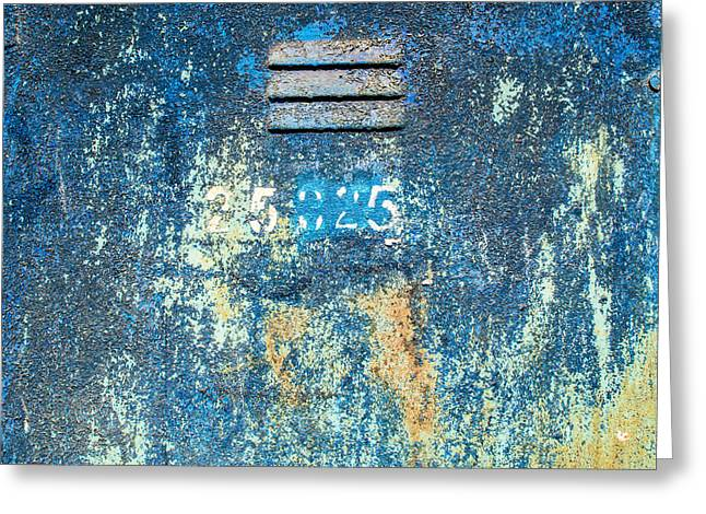 Industrial Background Greeting Cards - Flaking Paint on Metal with Grill Vent Greeting Card by John Williams