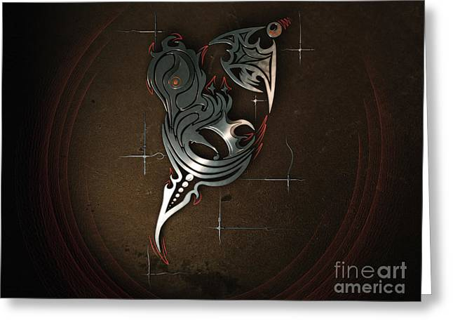 Abstractions Greeting Cards - Flame 3D Abstraction Greeting Card by Konstantin Sevostyanov