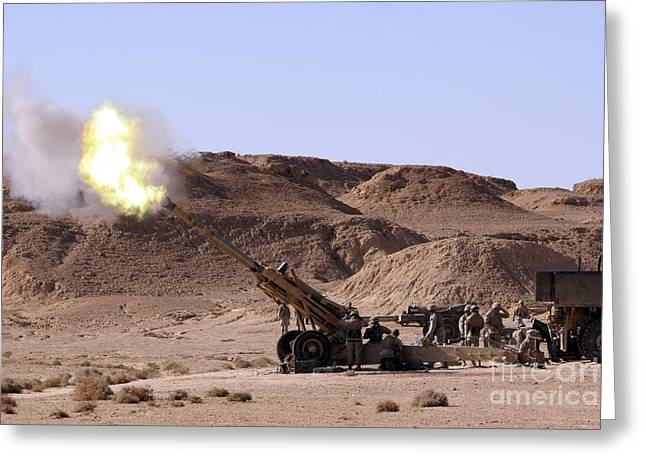 Iraq Greeting Cards - Flame And Smoke Emerge From The Muzzle Greeting Card by Stocktrek Images