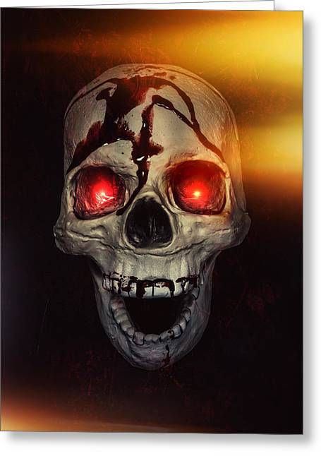 Skull Photographs Greeting Cards - Flame Eyes Greeting Card by Joana Kruse