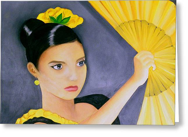 Creative People Paintings Greeting Cards - Flamenco Girl Greeting Card by Fanny Diaz
