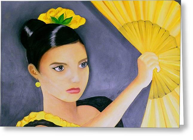 Flamenco Girl Greeting Card by Fanny Diaz